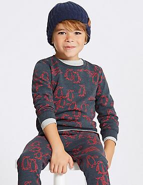 Cotton Rich Sweatshirt (3 Months - 7 Years), NAVY, catlanding