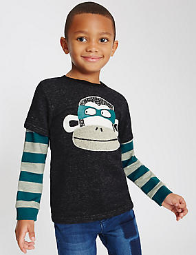 Pure Cotton Monkey Print Sweatshirt (1-7 Years)