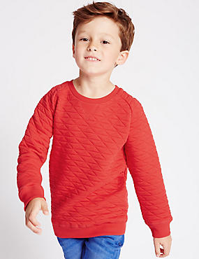 Pure Cotton Crew Neck Quilted Sweatshirt (1-7 Years)