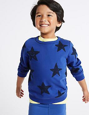 Pure Cotton Star Sweatshirt (3 Months - 7 Years), MULTI, catlanding