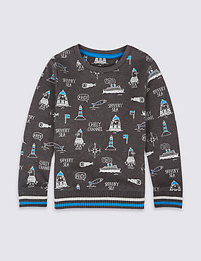 Cotton Rich All Over Print Sweatshirt (3 Months - 6 Years)