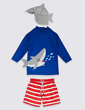 3 Piece Shark Swimsuit Set (3 Months - 7 Years)