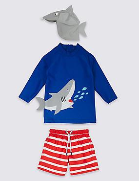 3 Piece Shark Swimsuit Set (3 Months - 7 Years), BRIGHT BLUE MIX, catlanding