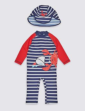 2 Piece Crab Swimsuit Set (3 Months - 7 Years), POPPY MIX, catlanding