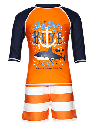 Underwater Print Vest & Shorts Set with Chlorine Resistant (1-7 Years) Clothing