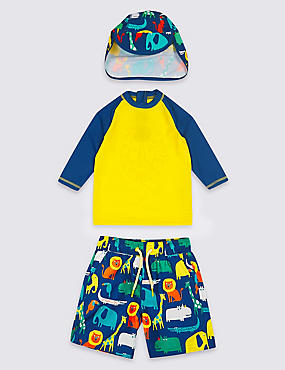 Swimsuit Set with Sun Safe UPF50+ (3 Months - 7 Years), MULTI, catlanding