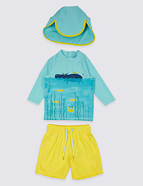 3 Piece Top & Shorts with Hat Swimsuit (3 Months - 7 Years)