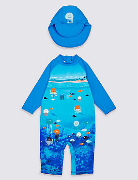 Swimsuit Set with Sun Safe UPF50+ (3 Months - 7 Years), BRIGHT BLUE MIX, catlanding