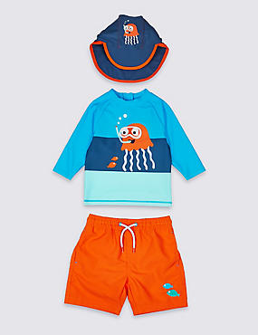 Swimsuit Set with Sun Safe UPF50+ (3 Months - 7 Years), BRIGHT TURQUOISE, catlanding