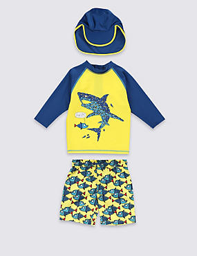 3 Piece Safe in the Sun Shark Rash Vest, Shorts Swimsuit with Hat (1-7 Years)