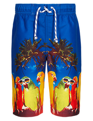 Parrot Print Woven Swim Shorts (1-7 Years) Clothing
