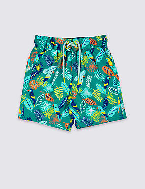 Bird Print Woven Swim Shorts (3 Months - 7 Years)