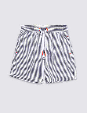 Striped Swim Trunks (3 Months - 7 Years), BRIGHT TURQUOISE, catlanding