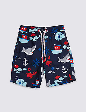 All Over Print Swim Shorts (3 Months - 7 Years), NEON BLUE, catlanding