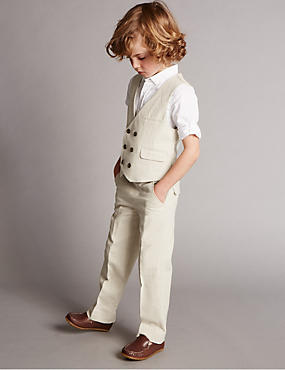 3 Piece Linen Blend Waistcoat Outfit (1-7 Years)