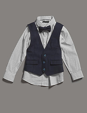 3 Piece Waistcoat, Shirt & Bow Tie Outfit (1-7 Years)