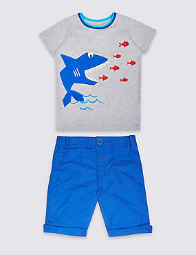 2 Piece Pure Cotton T-Shirt & Shorts Outfit (3 Months - 5 Years)