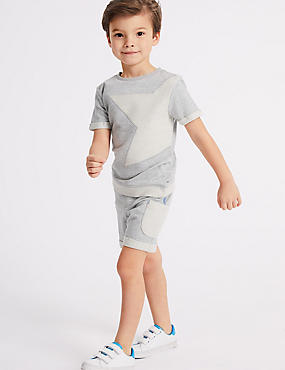 2 Piece Pure Cotton Top & Shorts Outfit (3 Months - 7 Years), GREY MARL, catlanding