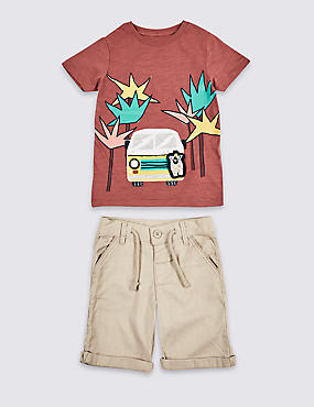 2 Piece T-Shirt & Shorts Outfit (3 Months - 7 Years), MULTI, catlanding