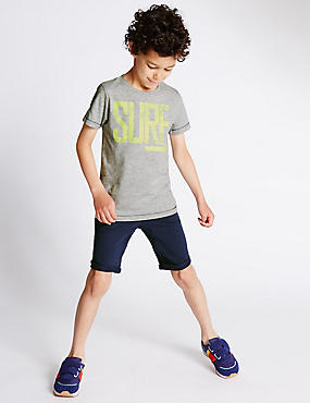 Cotton Rich Surf Slogan T-Shirt & Shorts Outfit (1-7 Years)