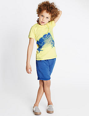 2 Piece Pure Cotton Frog Print T-Shirt & Shorts Outfit (1-7 Years)
