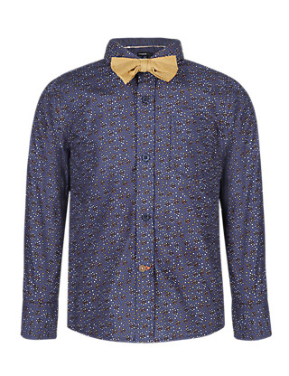 Pure Cotton Heart Print Shirt with Bow Tie Clothing
