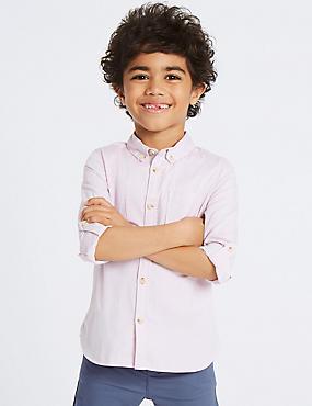 Pure Cotton Oxford Shirt (3 Months - 7 Years), LIGHT PINK, catlanding