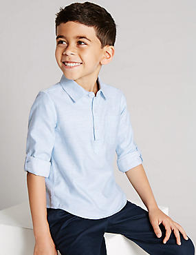 Cotton Rich Roll Up Sleeves Textured Shirt (1-7 Years)
