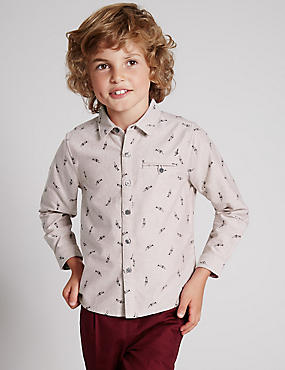 Pure Cotton Long Sleeve Trumpet Shirt (1-7 Years)