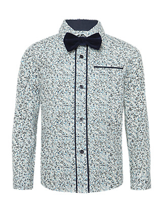 Pure Cotton Floral Shirt with Bow Tie Clothing