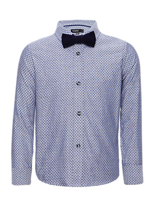 Pure Cotton Jacquard Shirt with Bow Tie Clothing