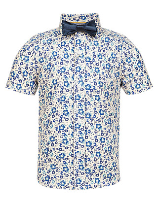 Pure Cotton Chambray Floral Shirt with Bow Tie (1-7 Years) Clothing