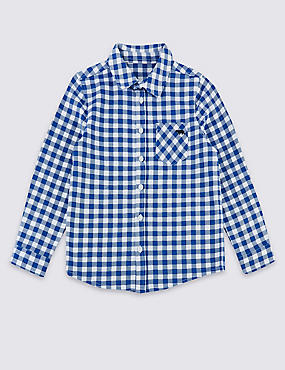 Pure Cotton Checked Shirt (3 Months - 7 Years), COBALT, catlanding