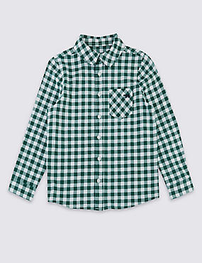 Pure Cotton Checked Shirt (3 Months - 7 Years), LIGHT EMERALD, catlanding
