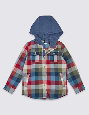 Pure Cotton Hooded Shirt (3 Months - 5 Years)