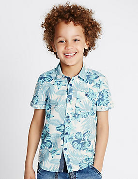 Pure Cotton Hibiscus Print Shirt (1-7 Years)