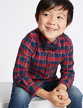 Pure Cotton Checked Shirt with Bow Tie (3 Months - 6 Years)