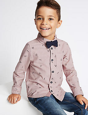 Pure Cotton All Over Print Shirt with Bow Tie (3 Months - 6 Years)