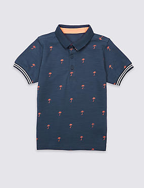 Pure Cotton Palm Print Polo Shirt (3 Months - 5 Years)