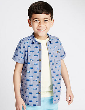 Pure Cotton Car Print Shirt (1-7 Years)