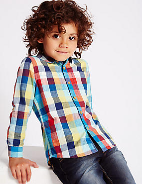 Pure Cotton Roll Up Sleeves Checked Shirt (1-7 Years)
