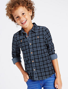 Pure Cotton Long Sleeve Checked Shirt (1-7 Years)