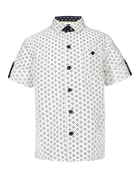Pure Cotton Tile Print Shirt (1-7 Years)