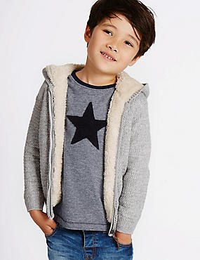 Pure Cotton Zip through Knitted Hoody (3 Months - 5 Years)
