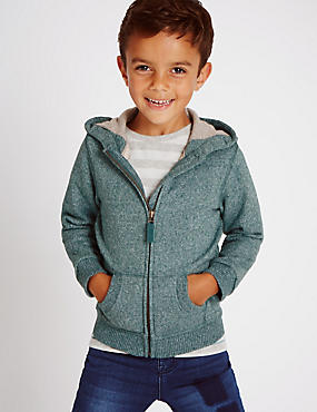 Cotton Rich Borg Lined Hooded Top (1-7 Years)