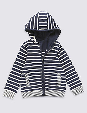 Pure Cotton Striped Zipped Through Hooded Top