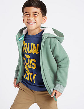 Cotton Rich Lined Zip Through Hooded Top (1-7 Years)