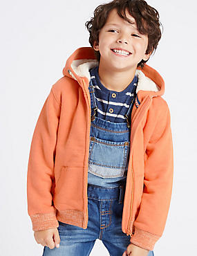 Cotton Rich Borg Lined Hoody Sweat Top (1-7 Years)