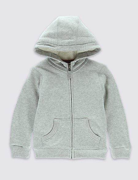 Cotton Rich Borg Lined Hooded Sweat Top (1-7 Years)