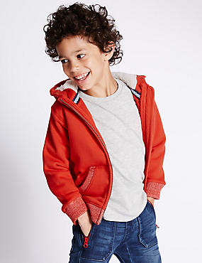 Cotton Rich Borg Lined Zipped Through Hooded Sweat Top (1-7 Years)